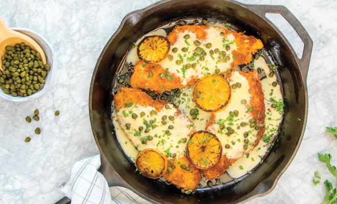 Alaska Sole Piccata with Lemon-Butter Sauce